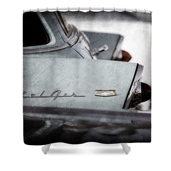 1956 Chevrolet Belair Nomad Rear End Emblem Shower Curtain
