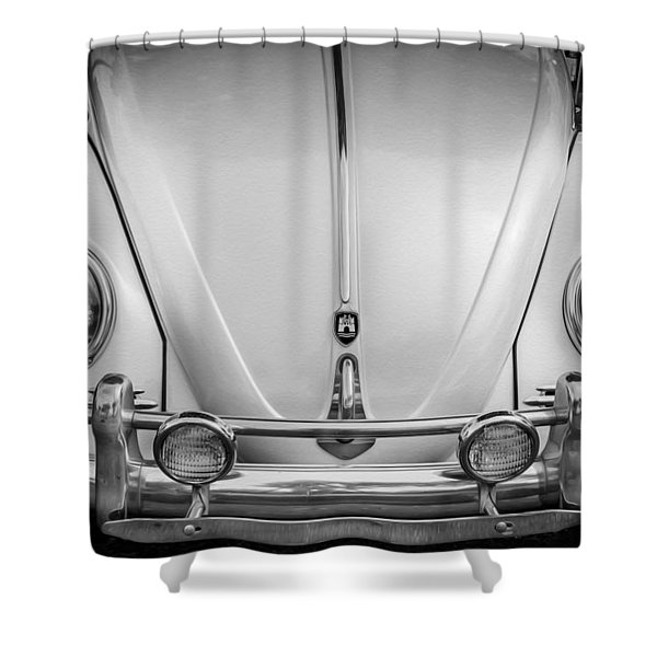 1960 Volkswagen Beetle Vw Bug   Bw Shower Curtain