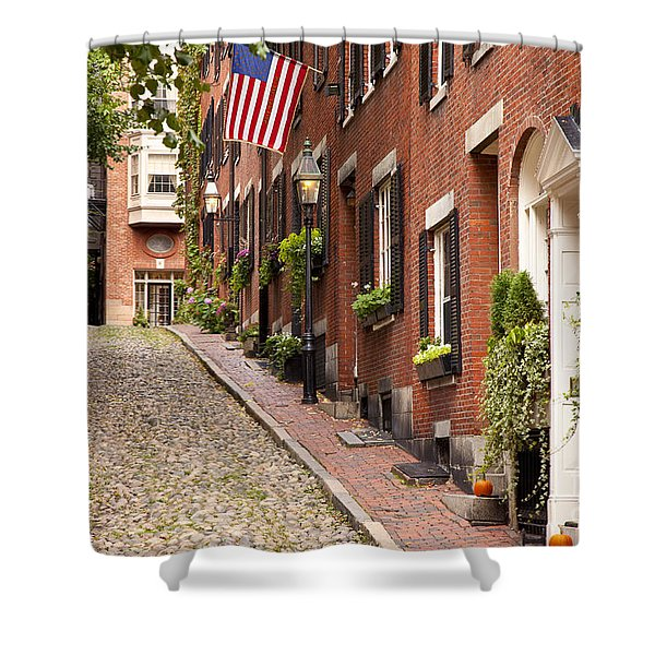 Shower Curtain featuring the photograph Acorn Street Boston by Brian Jannsen