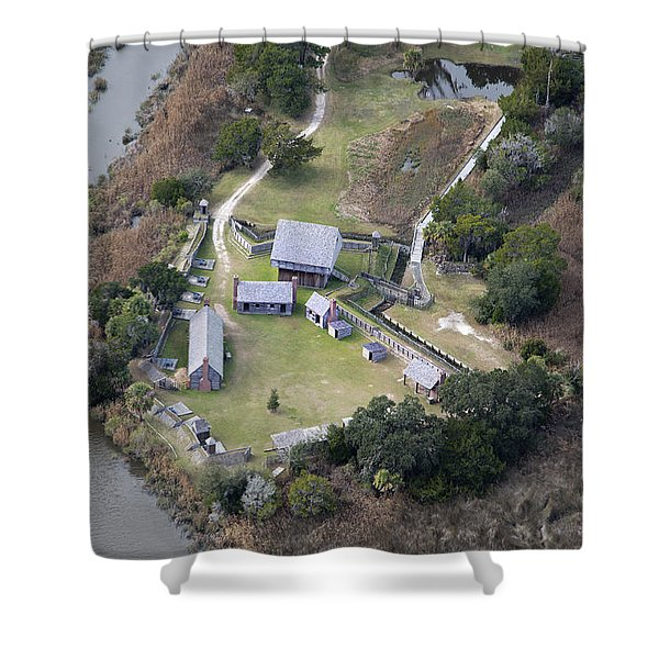 Aerial Near Jekyll Island Shower Curtain