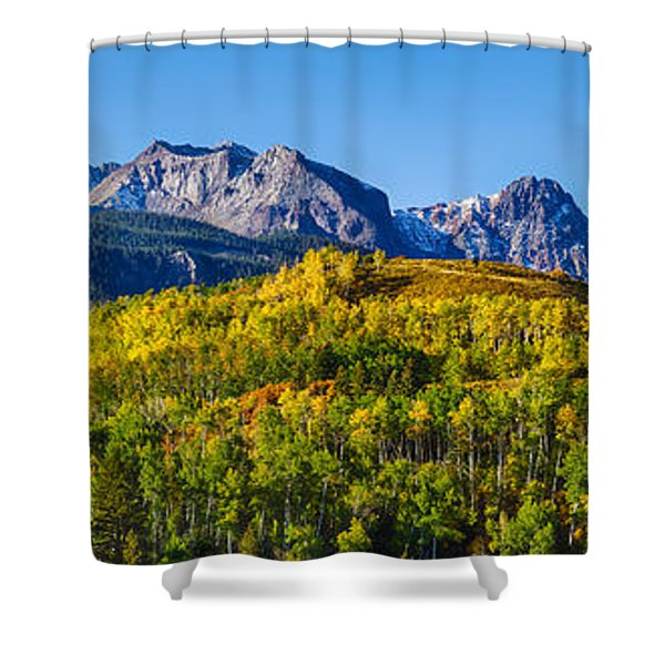 Aspen Trees With Mountains Shower Curtain