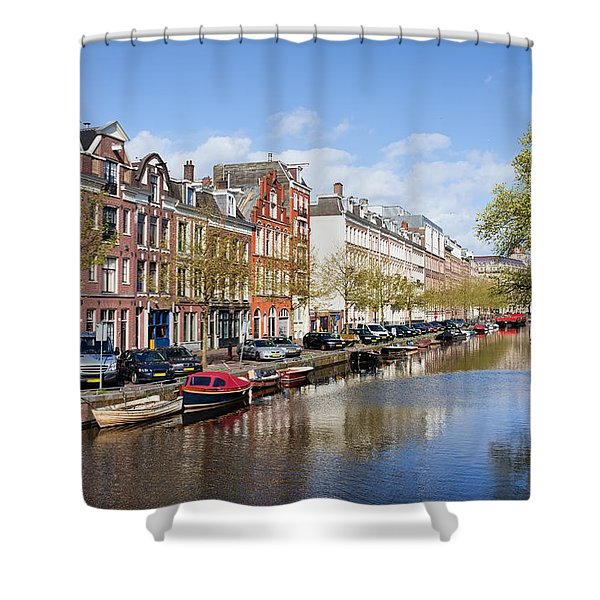 Boats On Amsterdam Canal Shower Curtain