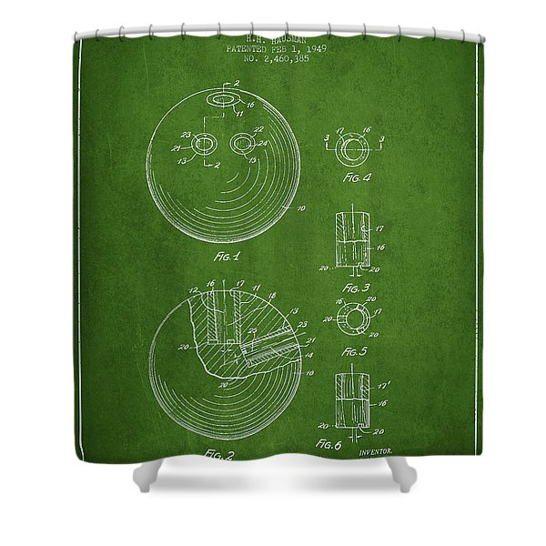 Bowling Ball Patent Drawing From 1949 Shower Curtain