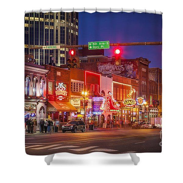 Shower Curtain featuring the photograph Broadway Street Nashville by Brian Jannsen