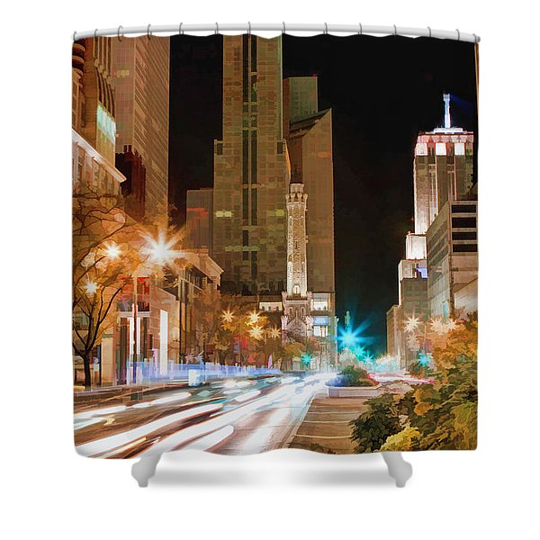 Chicago Michigan Avenue Light Streak Shower Curtain