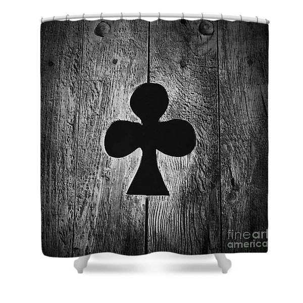 Clover Shape Cut Out Of Wooden Door Shower Curtain