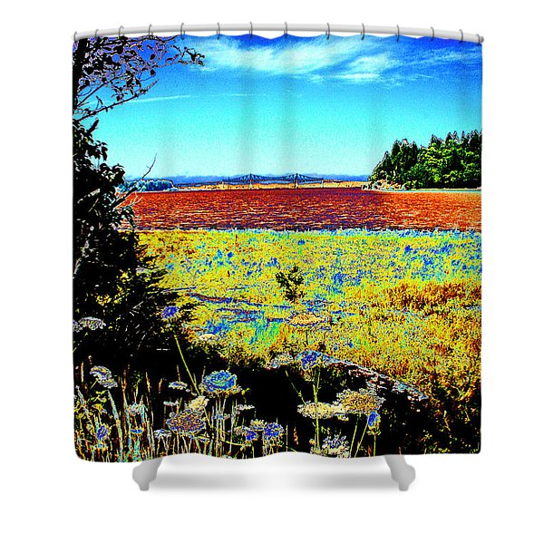 Coos Bay Wild Flowers Shower Curtain