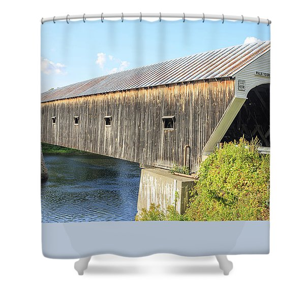 Shower Curtain featuring the photograph Cornish-windsor Covered Bridge IIi by Edward Fielding