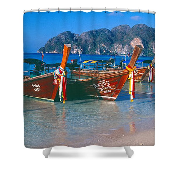 Fishing Boats In The Sea, Phi Phi Shower Curtain