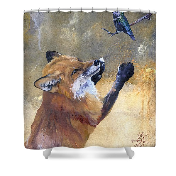 Fox Dances For Hummingbird Shower Curtain