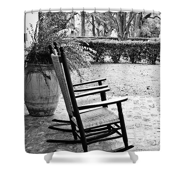 Front Porch Rockers - Bw Shower Curtain