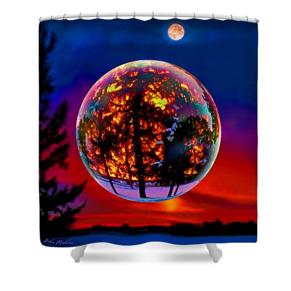 Full Moon Over New Richmond Sunset Shower Curtain