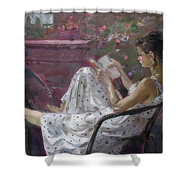 Girl Reading Shower Curtain