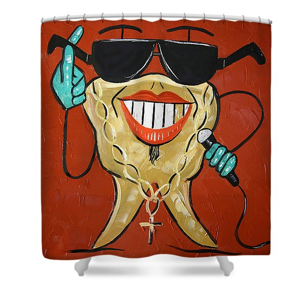 Shower Curtain featuring the painting Gold Tooth by Anthony Falbo