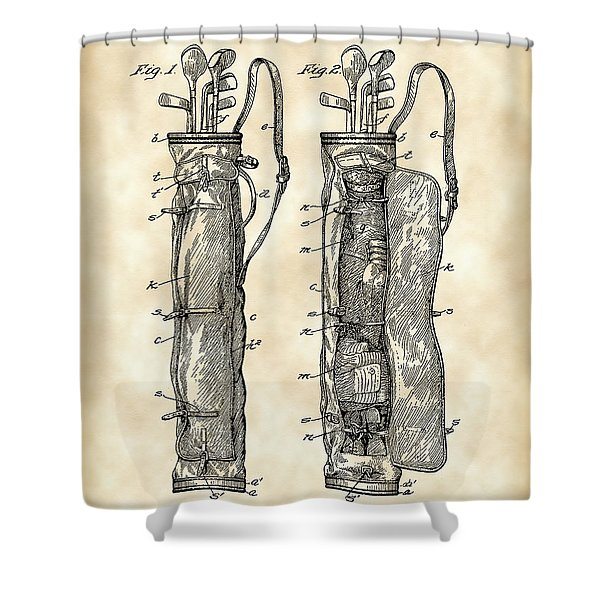 Golf Bag Patent 1905 - Vintage Shower Curtain