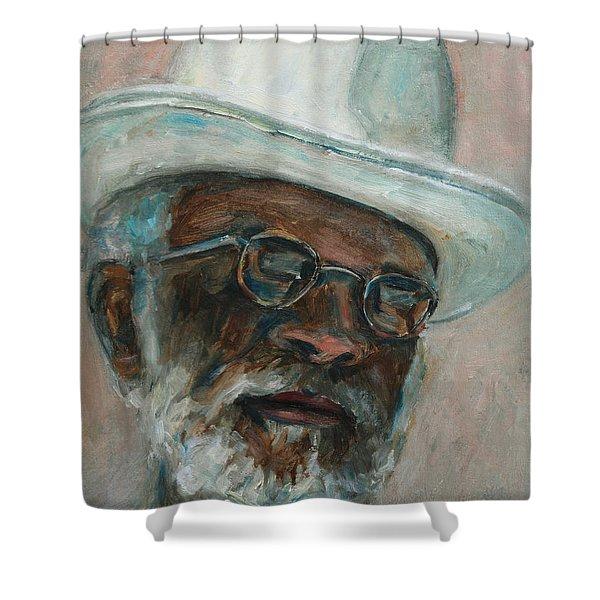 Gray Beard Under White Hat Shower Curtain