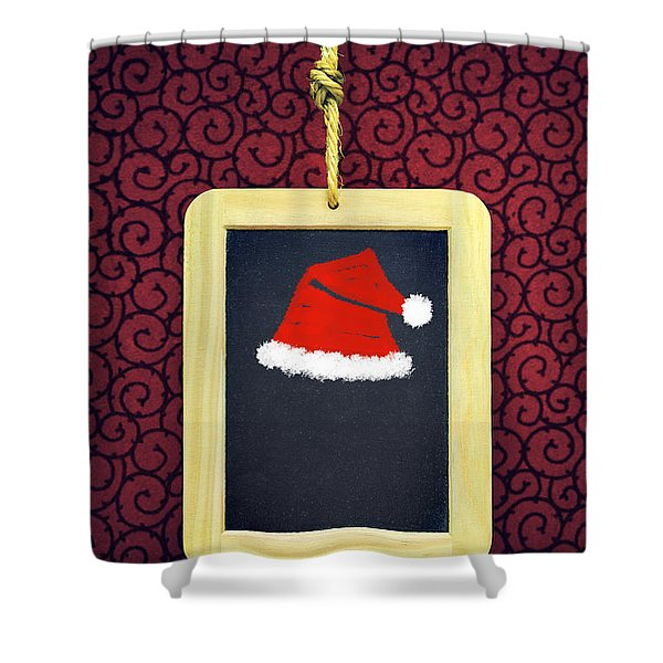 Hanged Xmas Slate - Santa's Cap Shower Curtain
