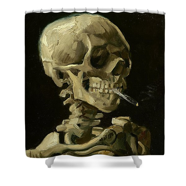 Head Of A Skeleton With A Burning Cigarette Shower Curtain