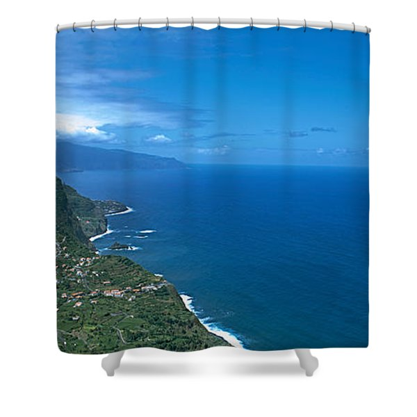 High Angle View Of A Coastline Shower Curtain