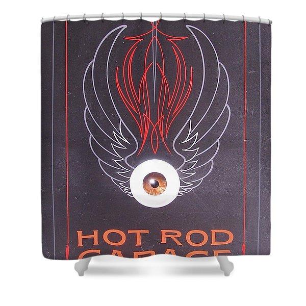 Hot Rod Garage Shower Curtain