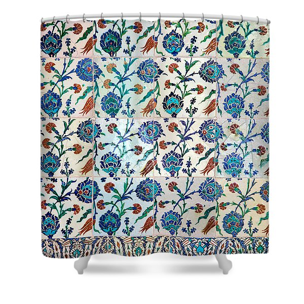 Iznik Ceramics With Floral Design Shower Curtain