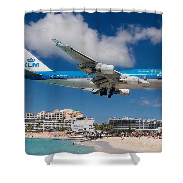 K L M Landing At St. Maarten Shower Curtain