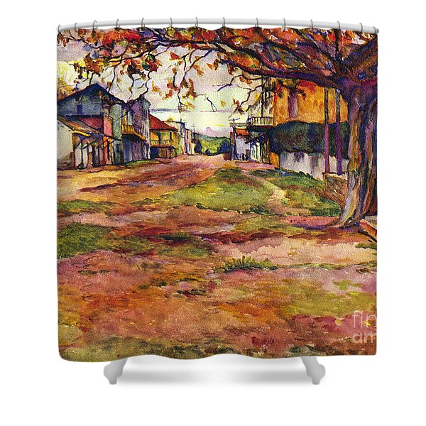 Main Street Of Early Spanish California Days San Juan Bautista Rowena M Abdy Early California Artist Shower Curtain