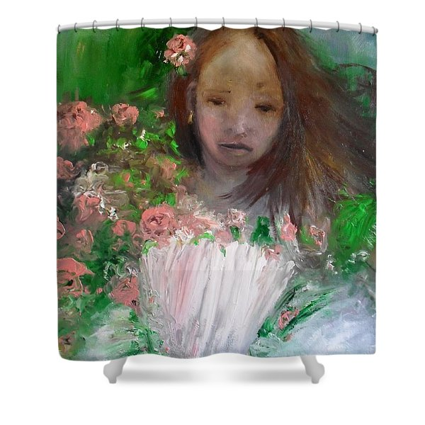 Shower Curtain featuring the painting Mary Rosa by Laurie Lundquist