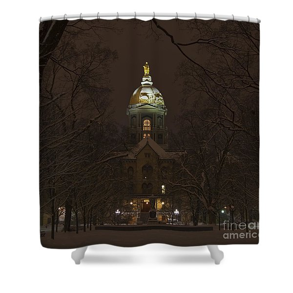 Notre Dame Golden Dome Snow Shower Curtain