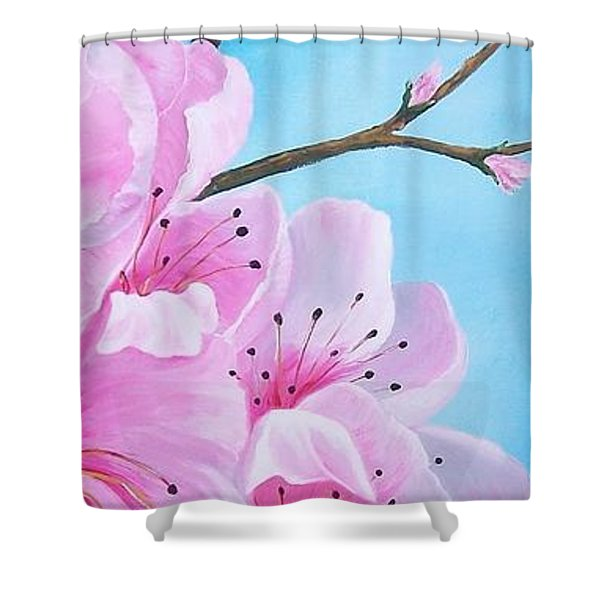 #2 Of Diptych Peach Tree In Bloom Shower Curtain