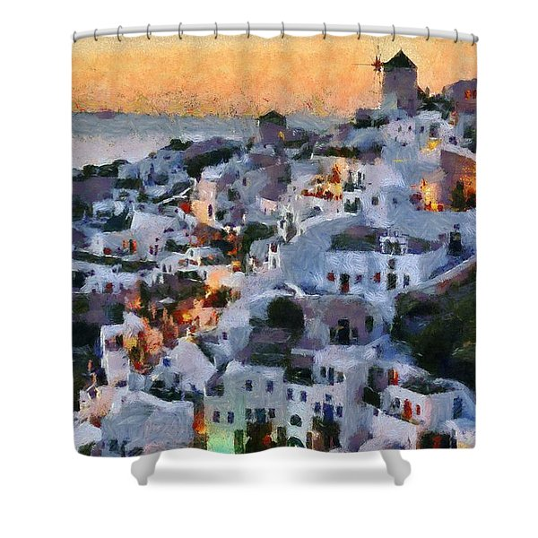 Oia Town During Sunset Shower Curtain