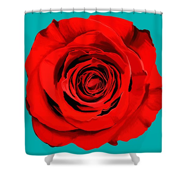 Painting Of Single Rose Shower Curtain