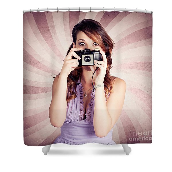 Pin-up Photographer Girl Taking Surprise Photo Shower Curtain