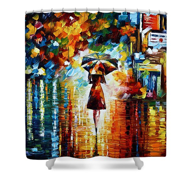 Rain Princess - Palette Knife Landscape Oil Painting On Canvas By Leonid Afremov Shower Curtain