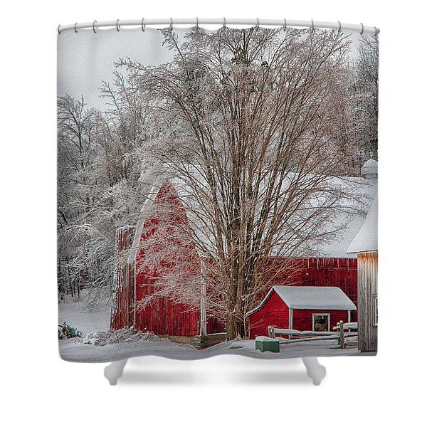 Red Vermont Barn Shower Curtain