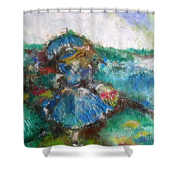 Shower Curtain featuring the painting Roses For My Mother by Laurie Lundquist