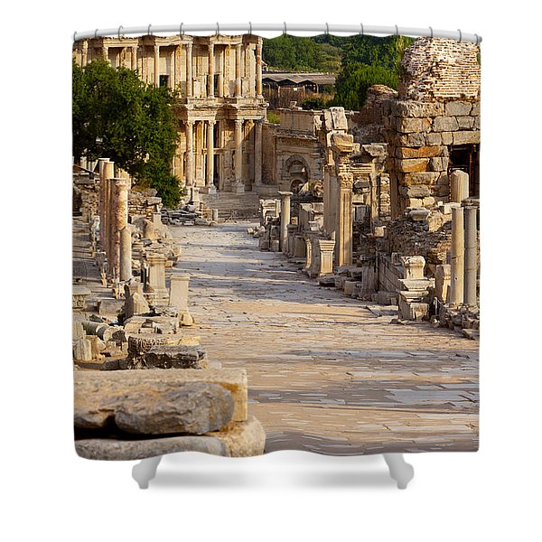 Shower Curtain featuring the photograph Ruins Of Ephesus by Brian Jannsen
