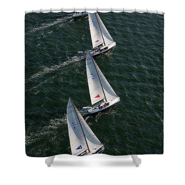 Sailboats In Swan Nyyc Invitational Shower Curtain