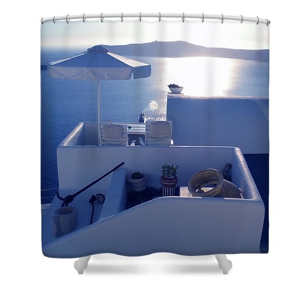 Santorini Island Greece Shower Curtain