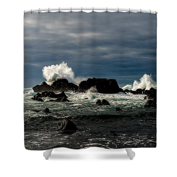 Stormy Seas And Spray Under Dark Skies  Shower Curtain