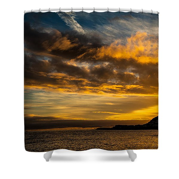 Sunset Over The Ocean  Shower Curtain