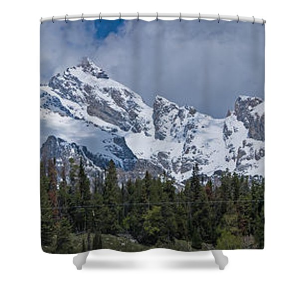 Large Tetons Panorama Shower Curtain