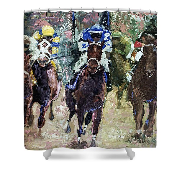 Shower Curtain featuring the painting The Bets Are On by Anthony Falbo