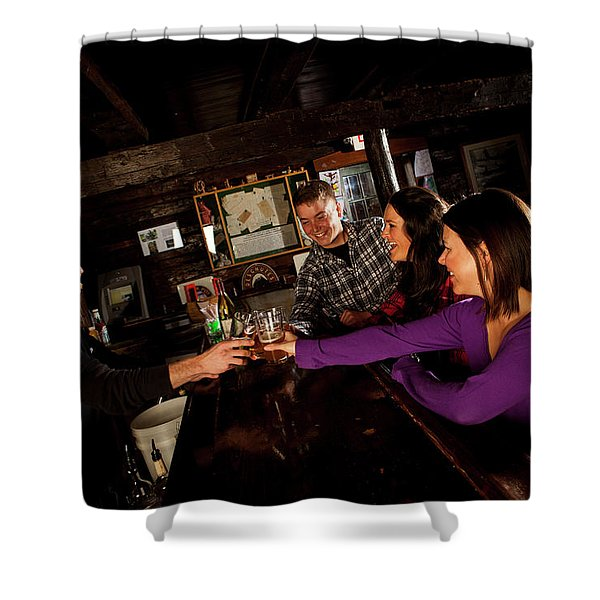 Two Men And Two Women Having Beer Shower Curtain