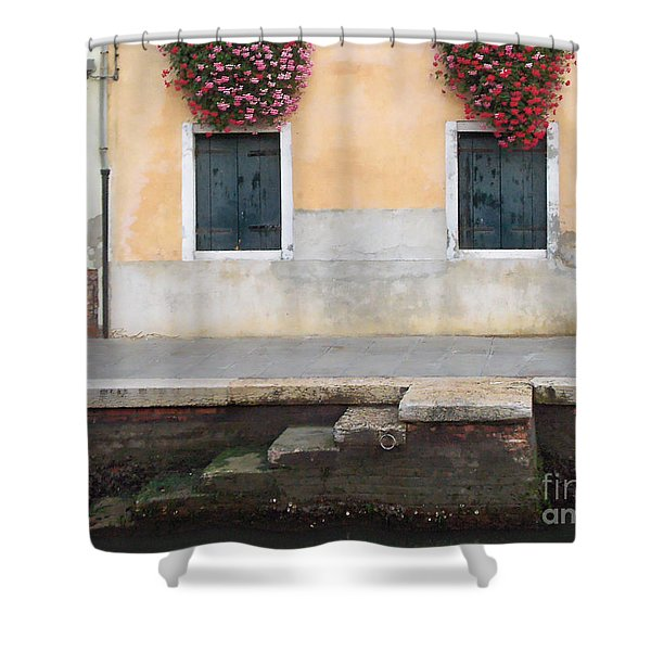 Venice Canal Shutters With Dog And Flowers Horizontal Shower Curtain