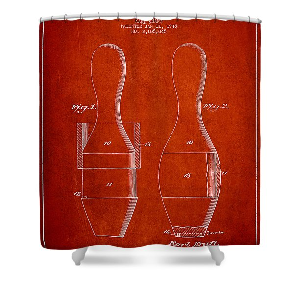 Vintage Bowling Pin Patent Drawing From 1938 Shower Curtain