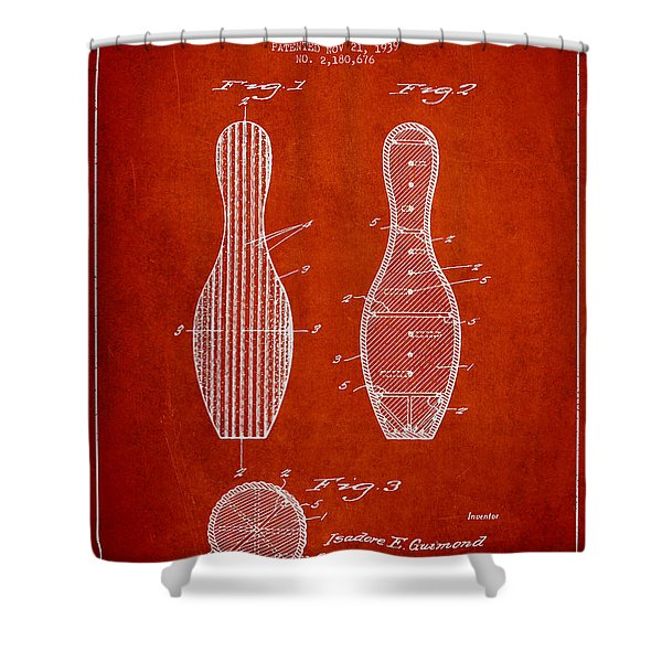 Vintage Bowling Pin Patent Drawing From 1939 Shower Curtain