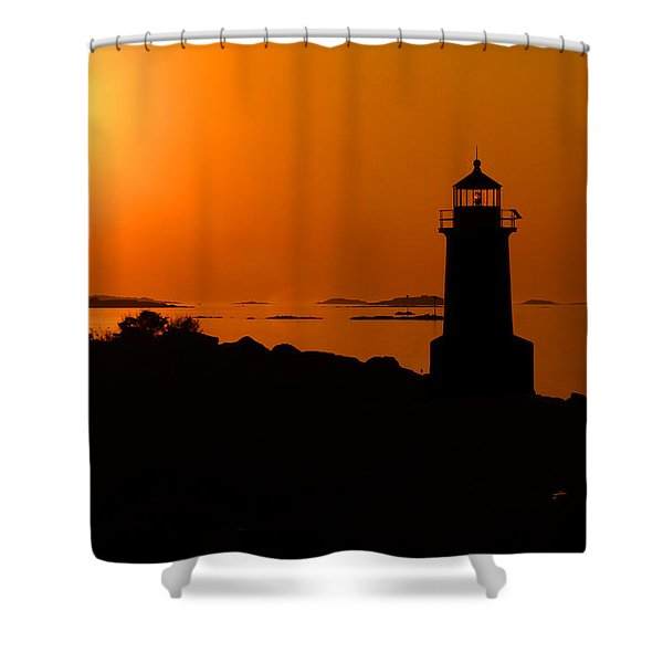 Winter Island Lighthouse Sunrise Shower Curtain