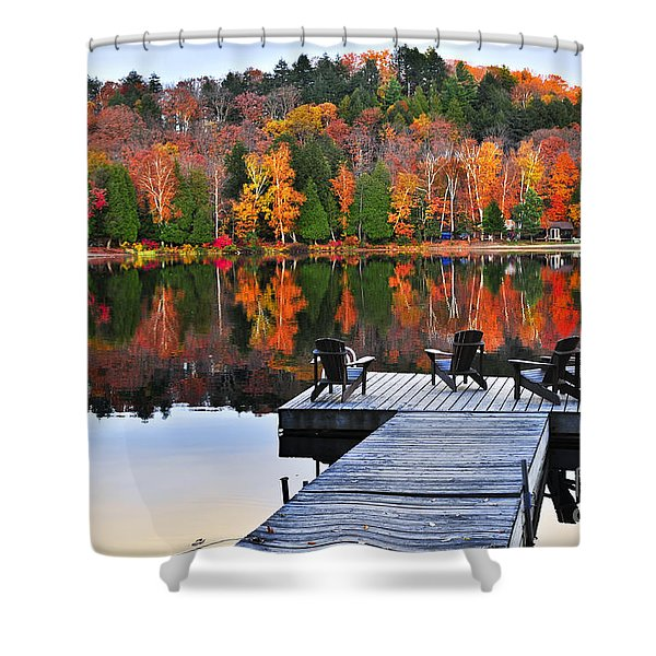 Wooden Dock On Autumn Lake Shower Curtain