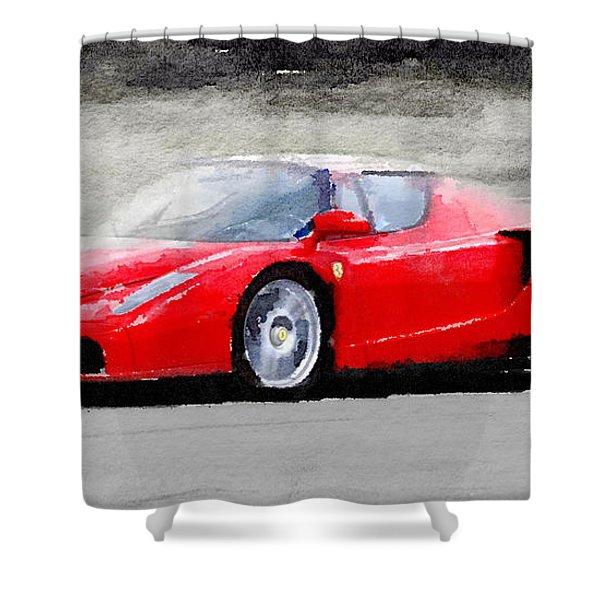 2002 Ferrari Enzo Watercolor Shower Curtain